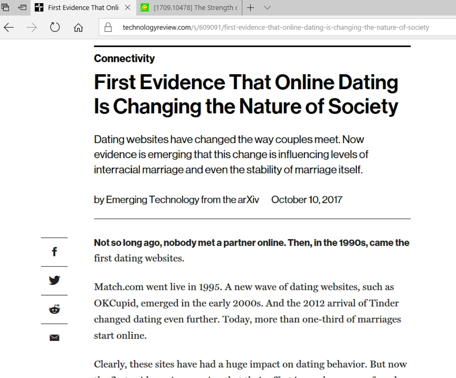 First evidence that online dating
