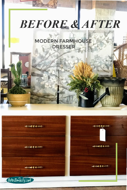 BEFORE AND AFTER MODERN FARMHOUSE DRESSER USING GENERAL FINISHES NEW COLOR ALABASTER