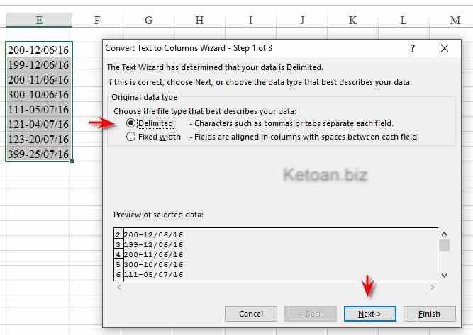 Tách dữ liệu nhanh chóng trong Excel với tính năng Text to Columns1