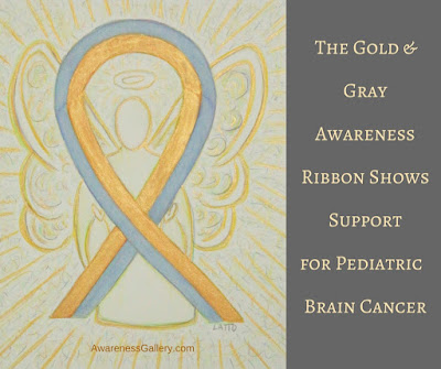 Gold and Gray Ribbon Angel - The Gold and Gray Awareness Ribbon Shows Support for Pediatric Brain Cancer.