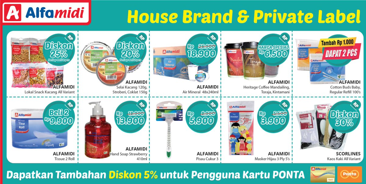#Alfamidi - Promo House Brand & Private Label + Diskon 5% Pakai Ponta (s.d 15 Jan 2019)