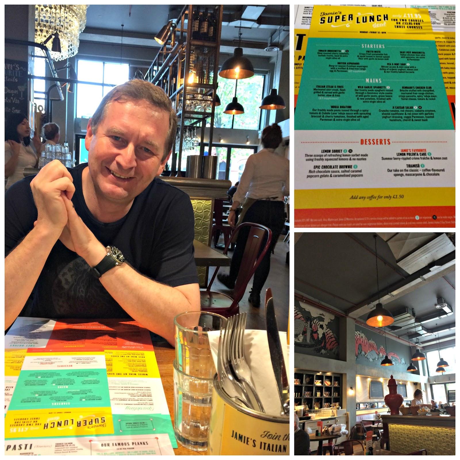 Mat Hobbis reading menu at Jamie's Cardiff