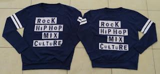 Jual Online Sweater Rock Hip Hop Navy Couple Murah di Banten Bahan Babytery Terbaru