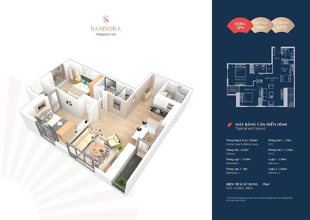 Thiết kế căn hộ 3A & 11: Diện tích 69,97m2