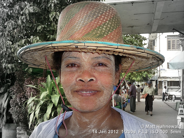 Burma, Myanmar, Yangon, Burmese woman, people, portrait, headshot, focal black and white, thanaka, straw hat