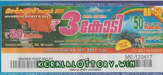 Monsoon Bumper Br-56 19/07/2017 ,Kerala Lottery Results