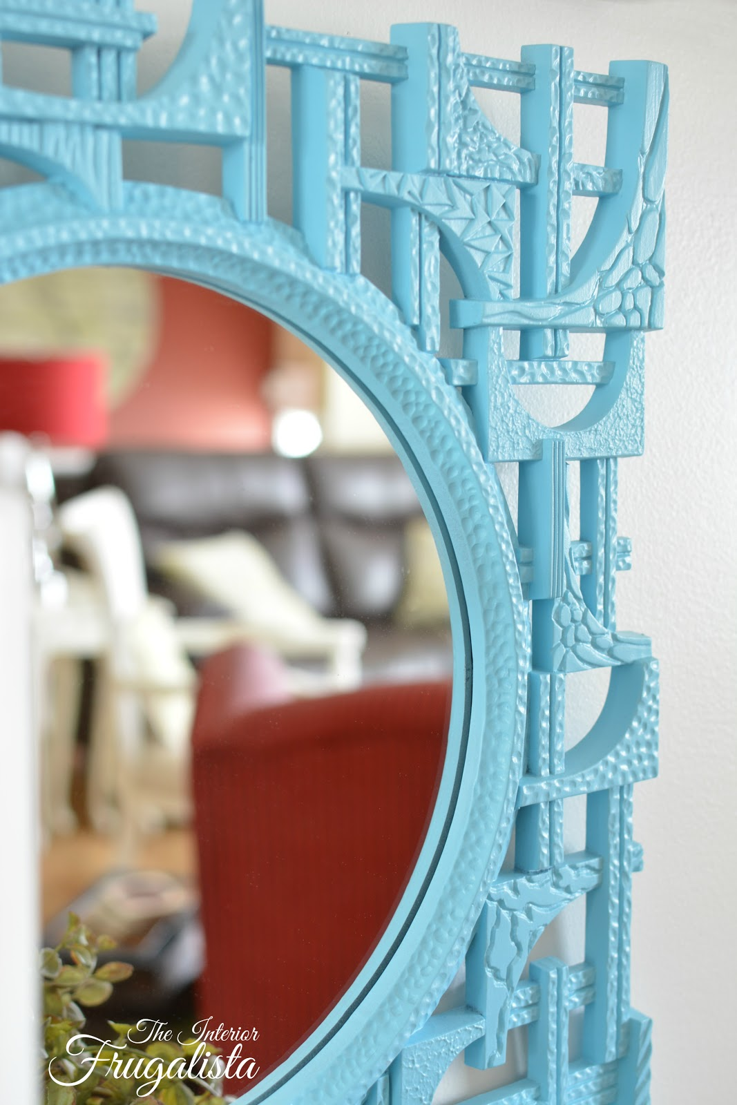 Aqua spray painted Vintage Coppercraft textured mirror
