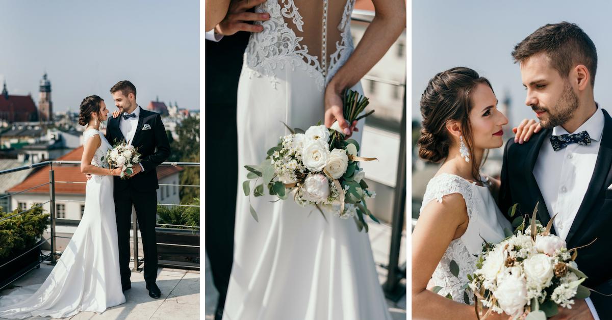 Klasyczna suknia ślubna z trenem.