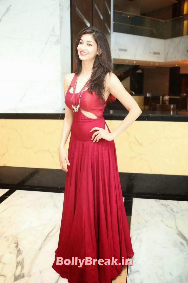 Telugu Actress Tanvi Vyas, Tanvi Vyas Very Sexy Pics in Long red gown