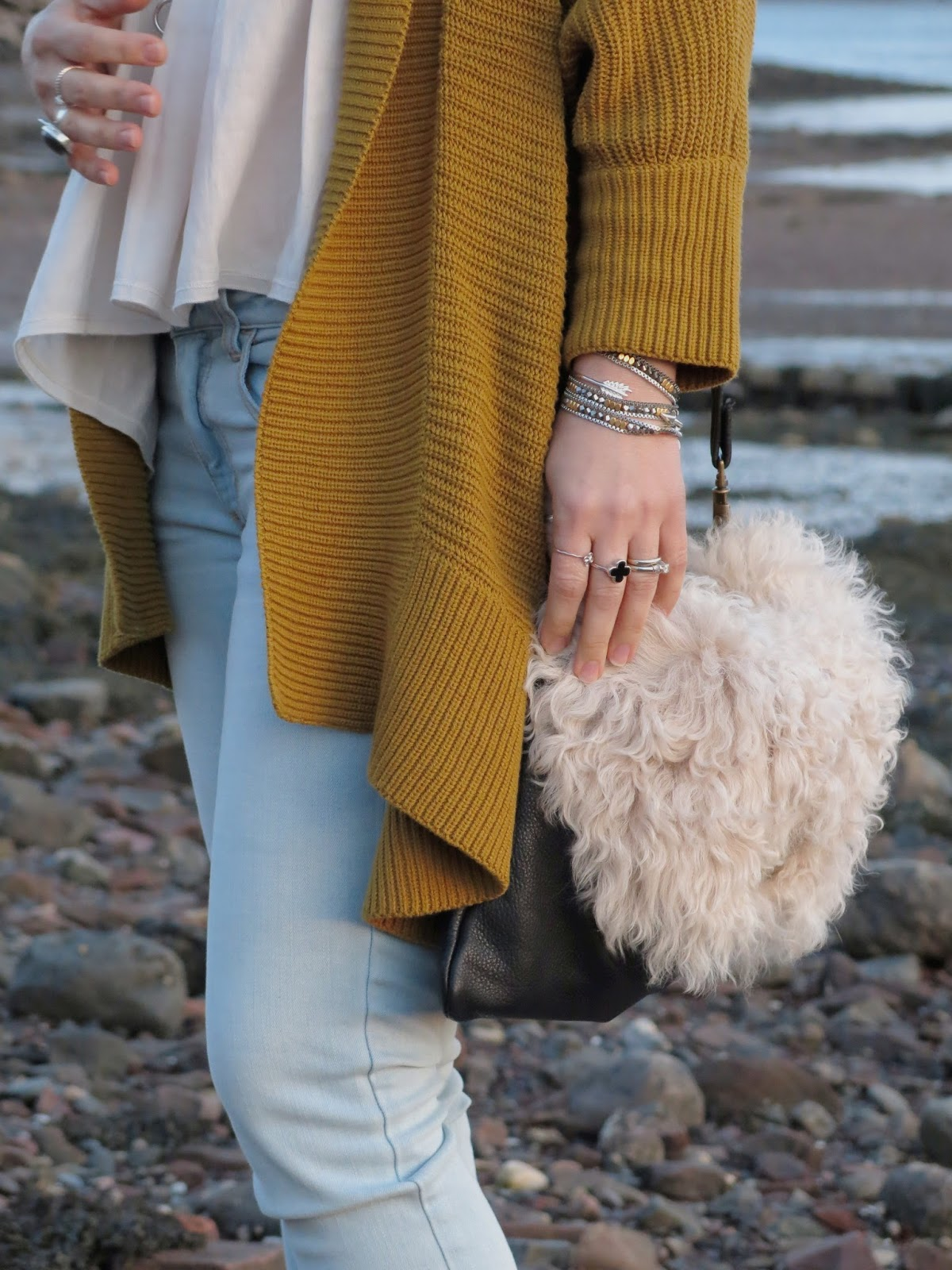 slouchy mustard cardigan and accessories