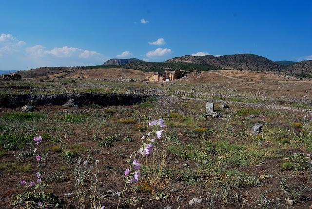 au loin, le merveilleux petit théâtre romain, magnifiquement préservé, d'où la vue sur la plaine est imprenable