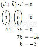 Perkalian dot dua vektor yang saling tegak lurus, vektor (a+b) tegak lurus dengan vektor c