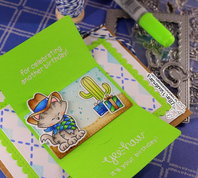 Wanted! Cowboy Kitty Interactive Birthday Card by Ellen Haxelmans   Newton Rides West Stamp Set and Argyle Stencil Set by Newton's Nook Designs #newtonsnook #handmade