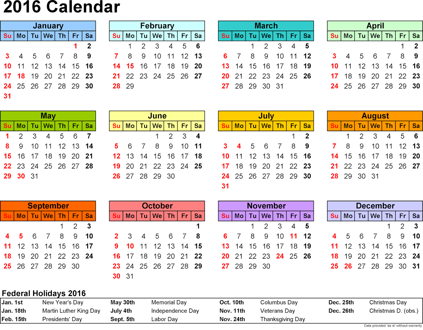 Cute Calendar Free Calendar With Holidays
