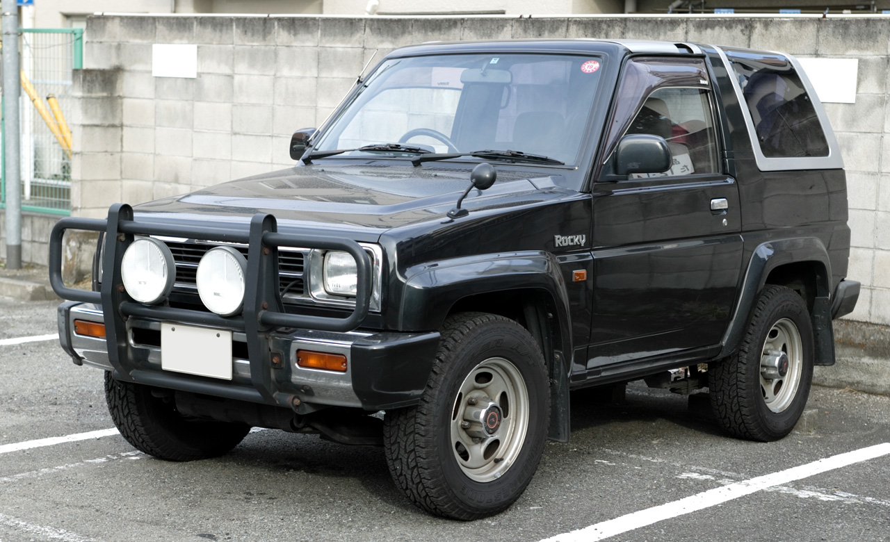 "The Daihatsu Rocky is a mini SUV that was manufactured by Japanese  automaker Daihatsu between 1987 and 1998. It is known as the Daihatsu  ""Lovibond"" Rocky in ..."