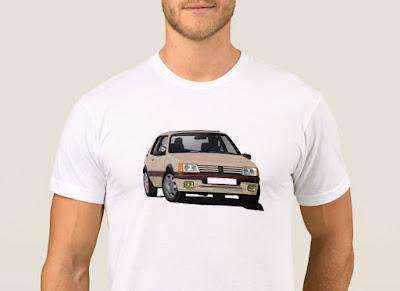 Kurvaava beige Peugeot 205 GTi t-paita
