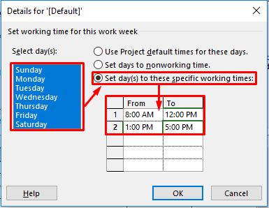 Thiết lập ngày và giờ làm việc các ngày trong tuần
