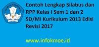Contoh Lengkap Silabus dan RPP Kelas I Sem 1 dan 2 SD MI Kurikulum 2013 Edisi Revisi 2017