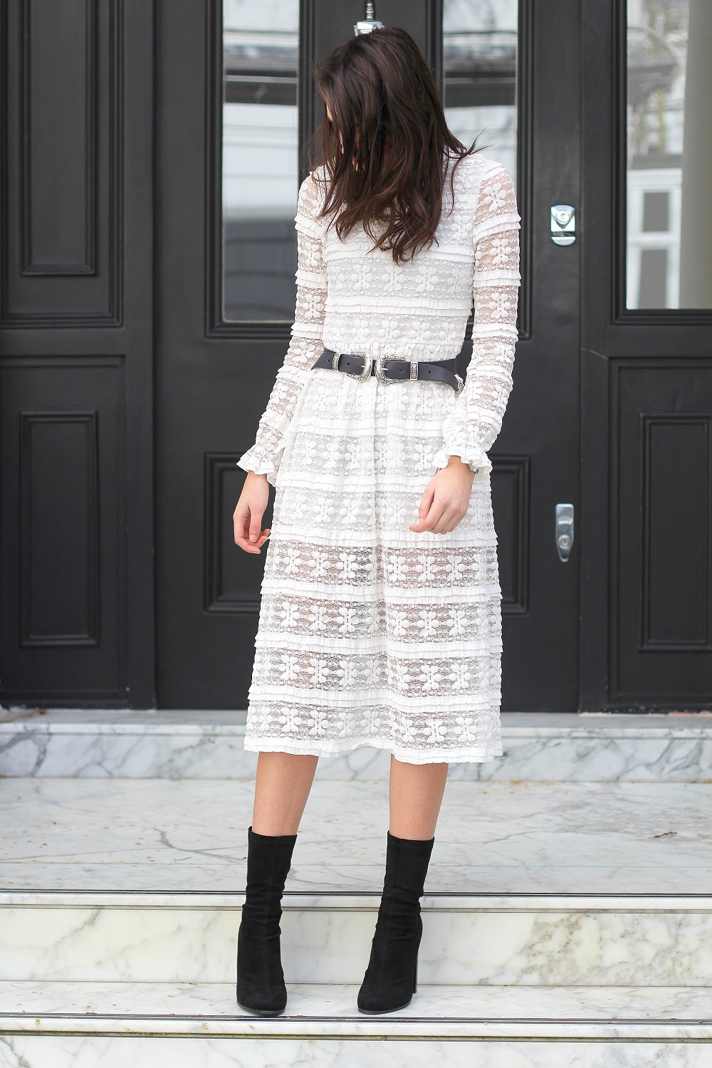 motel lace midi dress peexo fashion blogger