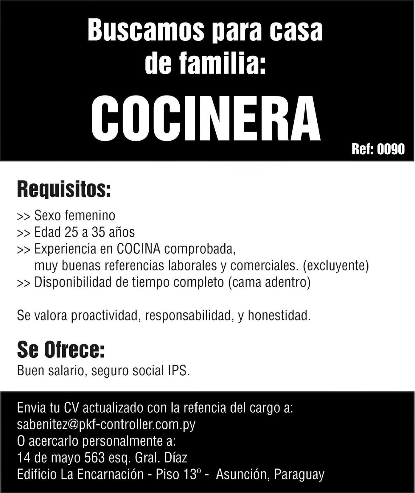 Bolsa de trabajo paraguay empleos trabajo for Busco trabajo ayudante de cocina