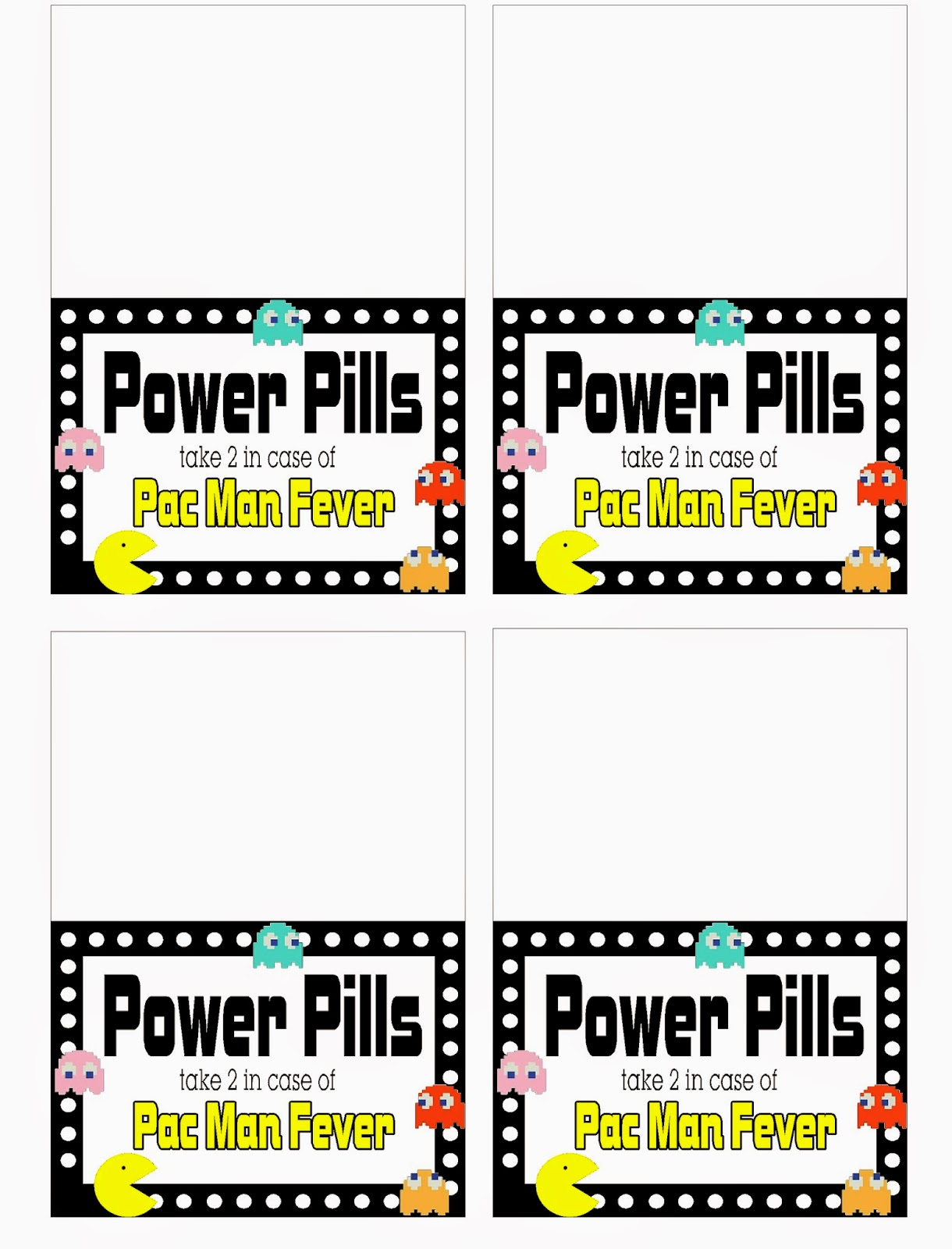 Pac Man Power Pills Candy Bag Topper Printable Everyday