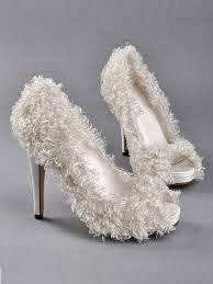 Fur bridal footwear