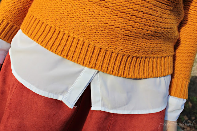 knitwear, josie´s little wonderland, outfit, fashion, blog, fashionpost, velourskirt, autumcolours, details,