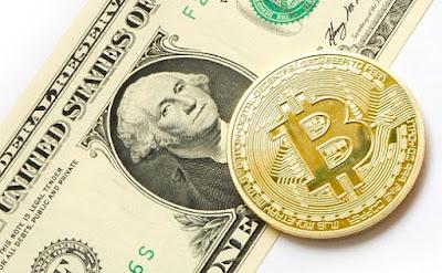 moneda bitcoin billete dolar