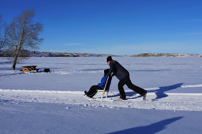 Kicksledding at Cypress Hills Provincial Park