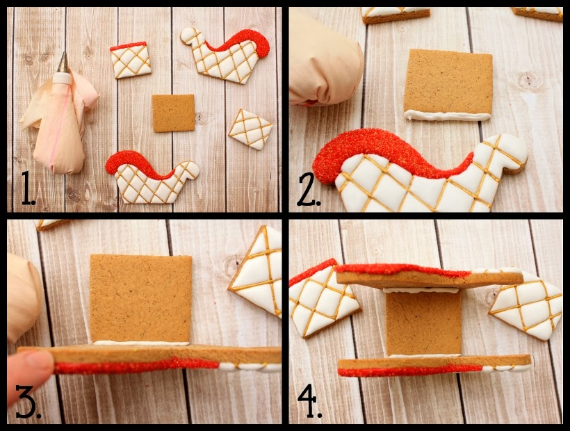 3D gingerbread sleigh cookie decorating tutorial