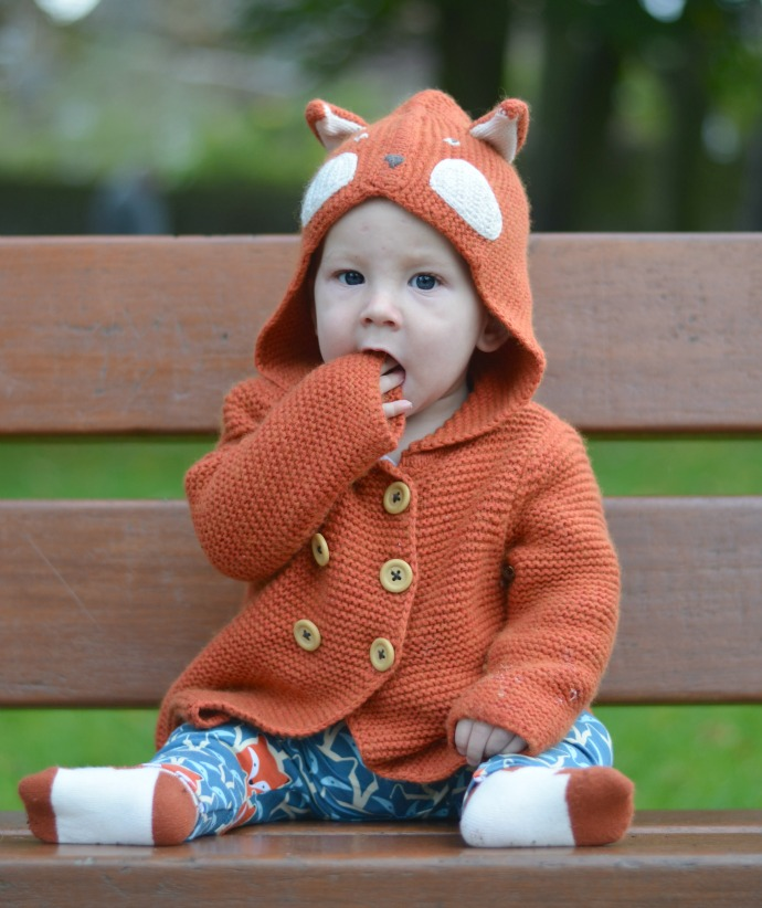 Lottie and Lysh, handmade leggings, Baby dressed as Fox