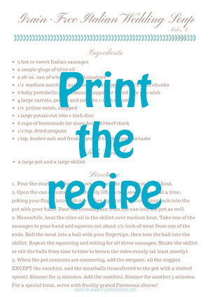 Printable recipe card for Gluten-Free Italian Wedding Soup