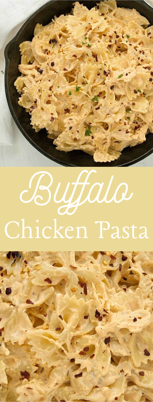 Buffalo Chicken Pasta #vegetarian #healthy
