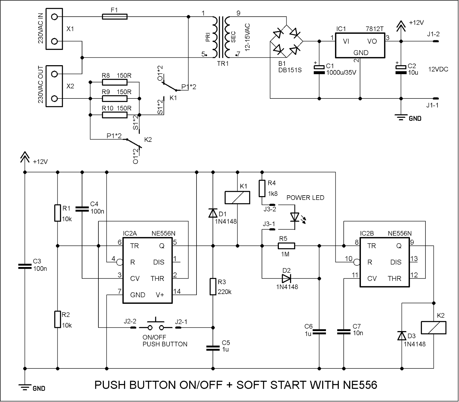 Diyfan Two Versions Of Soft Start Power Supply Connection Delay Circuit Both Schematics Share The Same And Switching Is Resistors R8 R10 Are 150ohm 10w Connected In Parallel