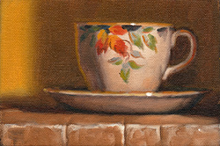 Oil painting of a teacup and saucer with an autumn oak leaf design.