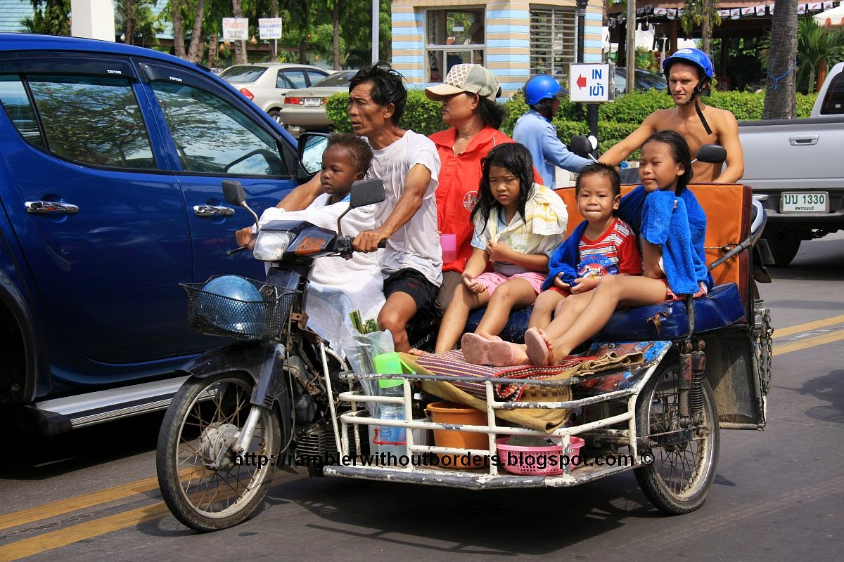 Motorcycle with the side trolley for the whole family, Pattaya, Thailand