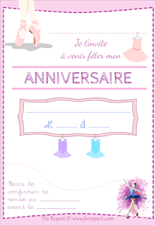 la f e repart carte d 39 invitation anniversaire ballerine t l charger. Black Bedroom Furniture Sets. Home Design Ideas