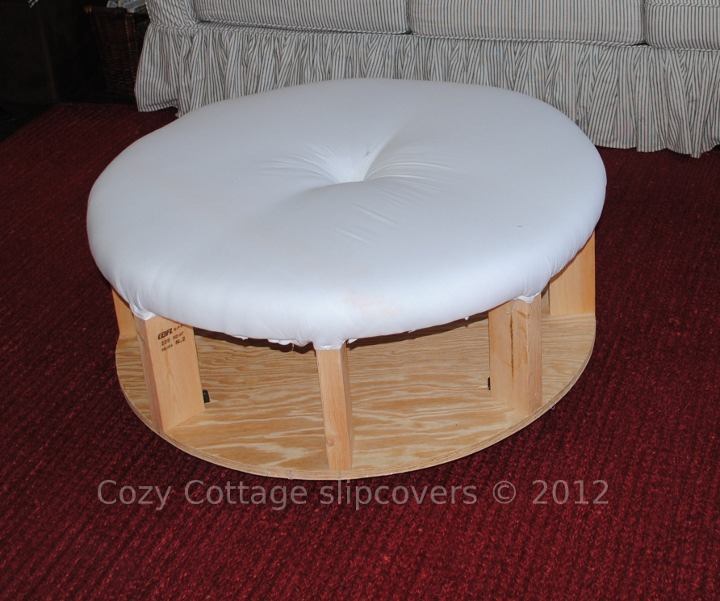 Round Ottoman Slipcover Furniture Table Styles