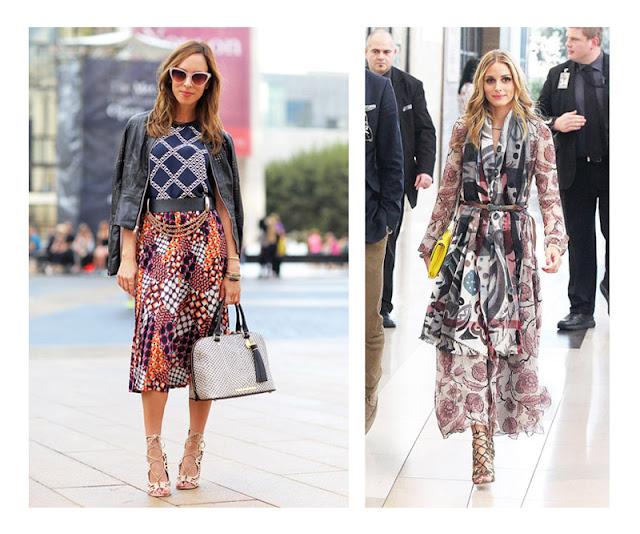 Сочетание юбки с абстрактным принтом с топом в клетку, платья в цветочек с шарфом с абстрактным принтом