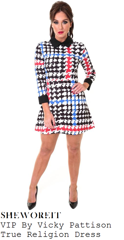 vicky-pattison-black-white-blue-and-red-houndstooth-three-quarter-sleeve-collared-dress-manchester