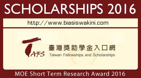 MOE Short Term Research Award 2016