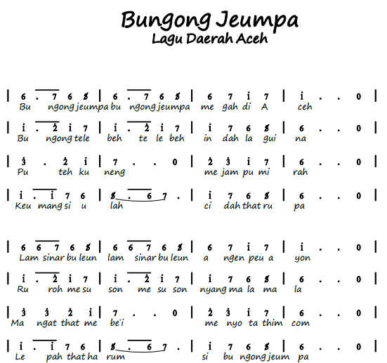 Not Angka Pianika Lagu Bungong Jeumpa