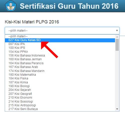 Pilih Kisi-Kisi Materi PLPG 2016 yang akan diunduh