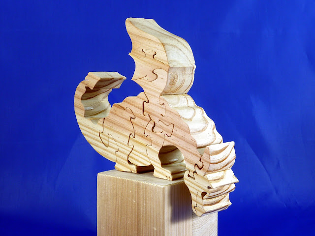 Right Front - Wooden Toy Puzzle - Dragon - Yellow Pine - Unfinished - 7.5x6x15 Inches