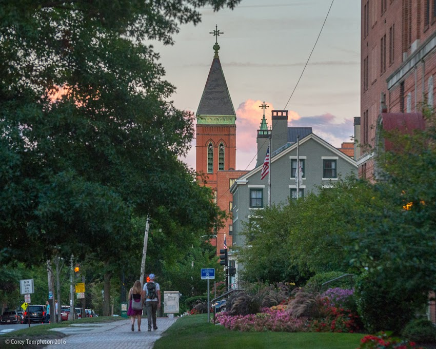 Portland, Maine USA September 2016 photo by Corey Templeton. A sunset stroll along picturesque State Street.