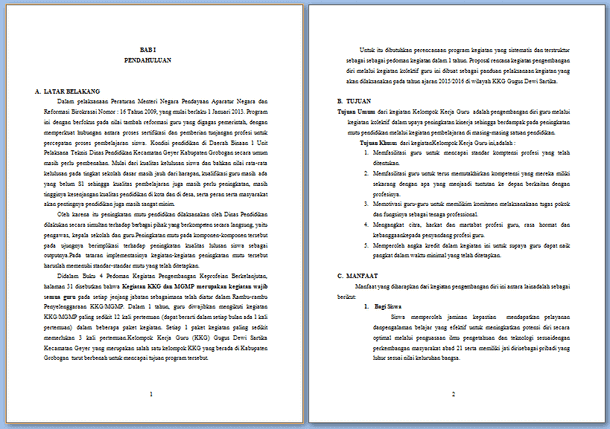 Contoh Proposal KKG Format Microsoft Word