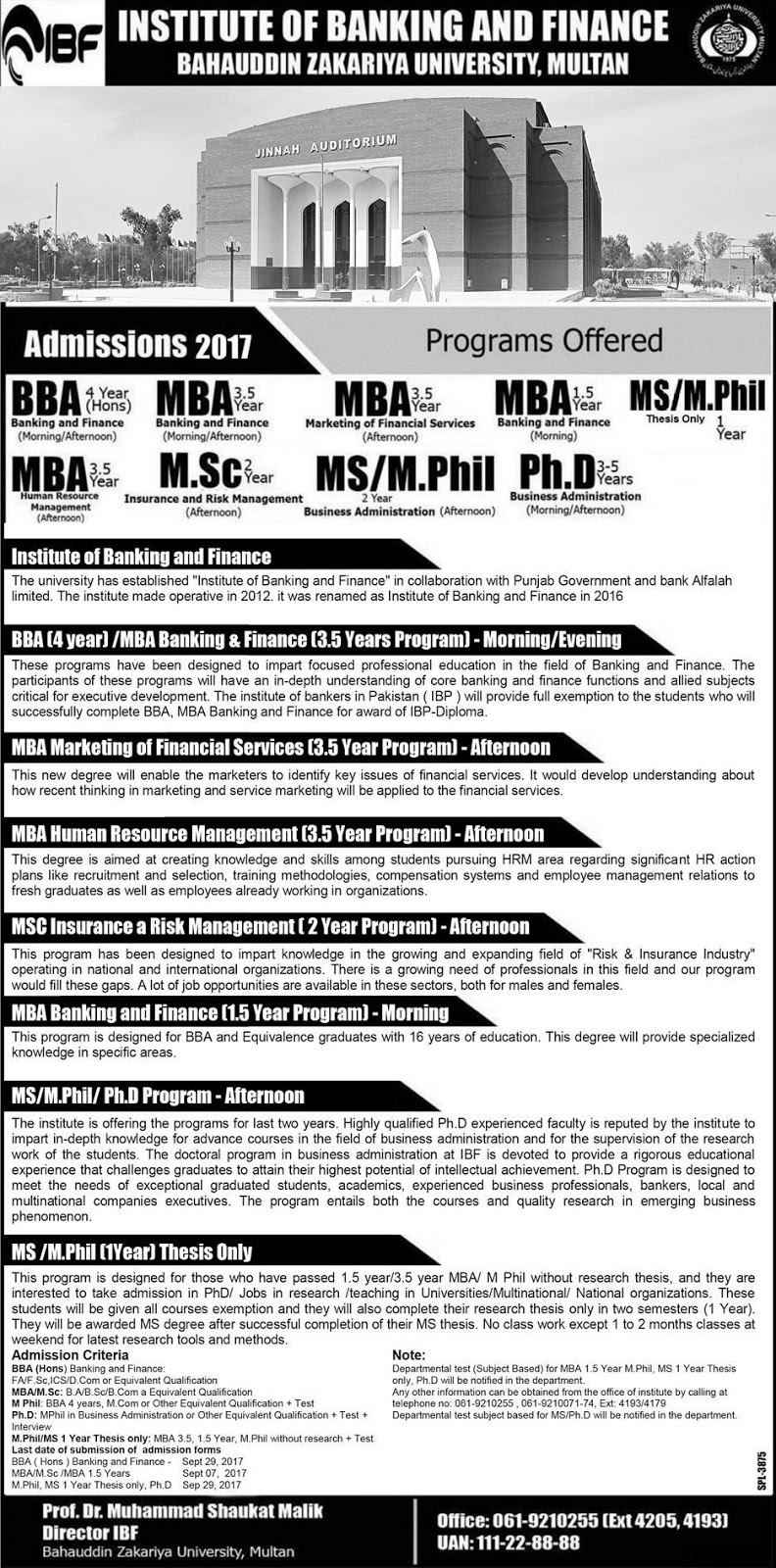 Admissions Open in Institute of Banking and Finance BZU 2017