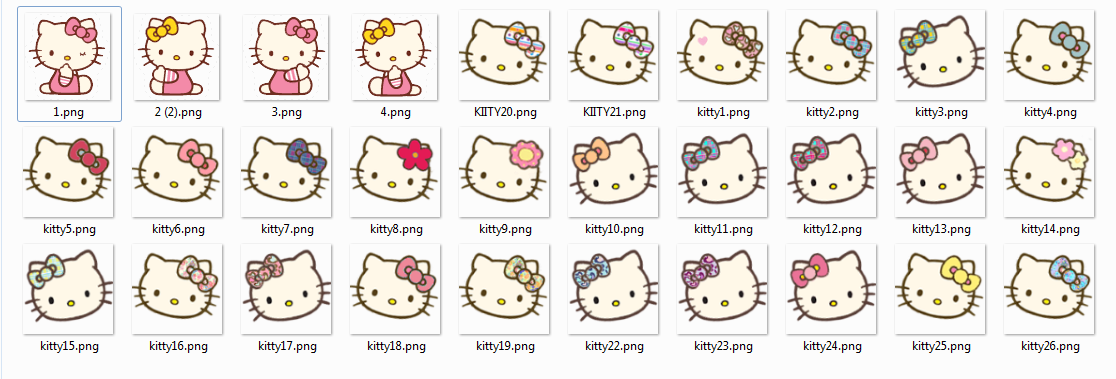 LOve Pink~: Hello Kitty faces Icons w/ bows~