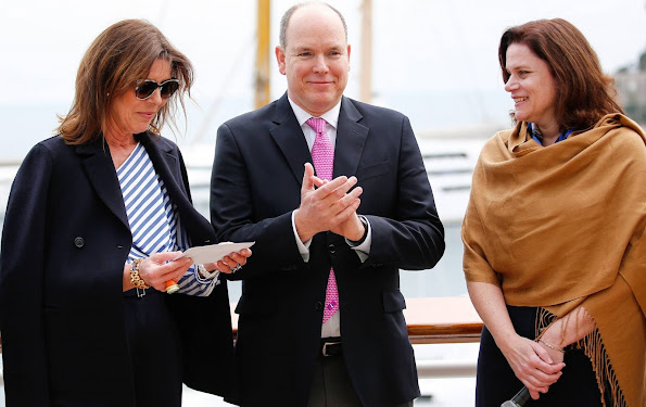 The Princess Grace Foundation-USA presented a check to Princess Caroline of Hanover and Prince Albert of Monaco