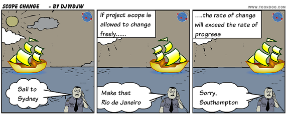 If Project scope is allowed to change freely - the rate of change will exceed the rate of progress